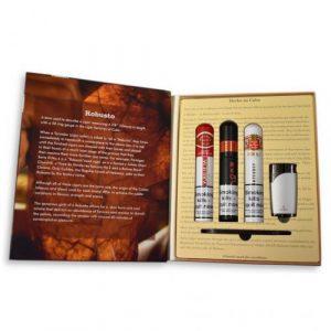 Robusto Book Habanos Gift Box - 3 Cigars, Cutter & Lighter