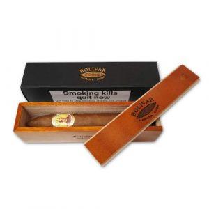 Bolivar Belicosos Finos Cigar - 1 Single in Varnished Slide Lid Box (Coffin)